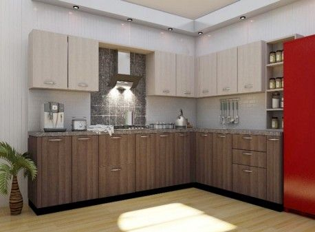 Get L Shaped Modular Kitchen AUBURN OAK AND CANTERBURY OAK at low factory price.