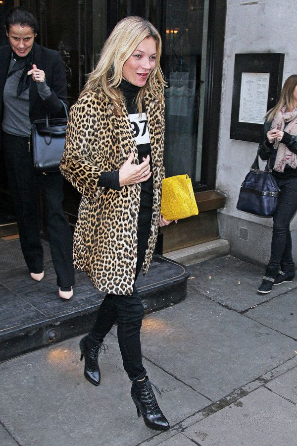 Leopard Lady - A big fan of leopard, Kate shows her animal-print prowess by lending rocker edge to an all-black outfit.
