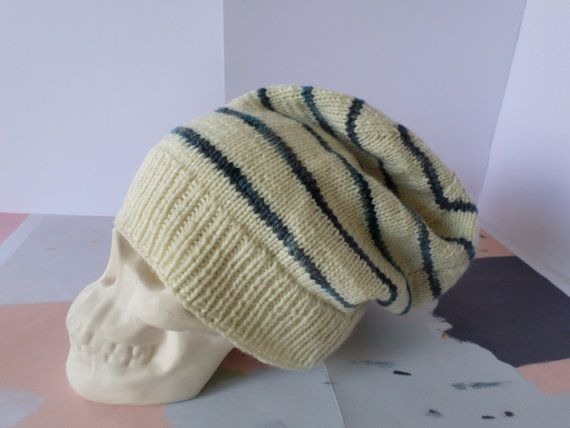 Luxury striped Stockholm beanie, slouchy unisex winter hat knitted from super soft 100% pure New Zealand merino wool with hand dyed blue ombre stripes. Handmade in New Zealand by Cornflake Purl.