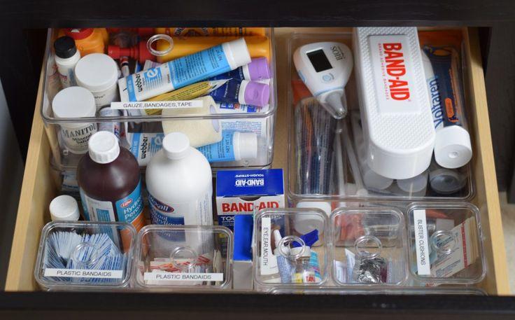 First Aid Drawer My Drawer Vanity | Vanity Drawer | Bathroom Vanity | Home Organization | Bathroom Organization | Bathroom Drawer | first aid Drawer | bandaid storage | first aid organization | the container store