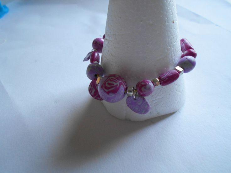 Bracelet réalisé avec des perles en fimo / pâte polymère : Bracelet par toutankharton36