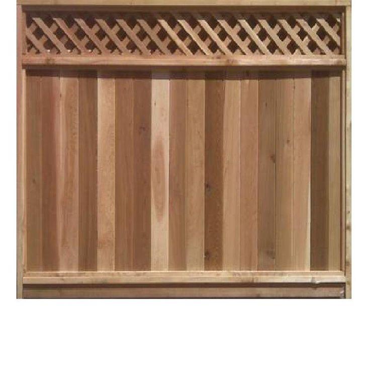 6-ft X 8-ft Cedar Fence Panel With Diagonal Lattice Top
