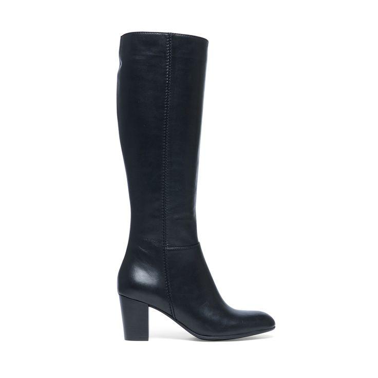 Zwarte hoge laarzen met hak – Dames | MANFIELD