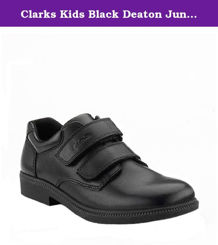 Clarks Kids Black Deaton Junior 1.0 X-Wide US Big Kid. Boys' school shoes in black leather with a simple toe shape design, plain leather uppers, and no-fuss adjustable riptape fastening. Available in whole and half sizes and a range of width fittings.