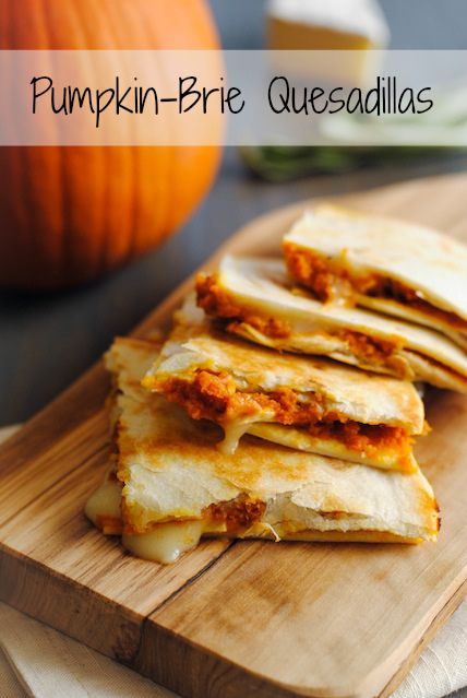 1-3/4 c canned pure pumpkin 1 tsp chili powder 1 tsp minced fresh sage 1/4 tsp cayenne 5-oz brie cheese 8 small four tortillas