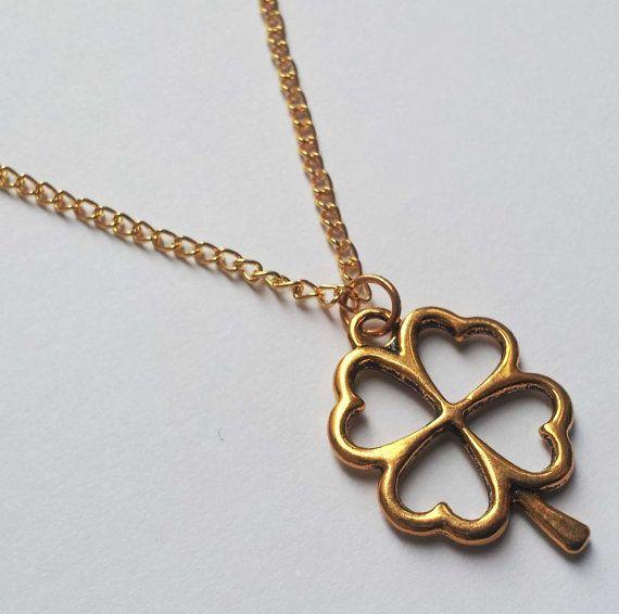 Gelukkige vier Leaf Clover ketting gouden ketting door AzureAllure