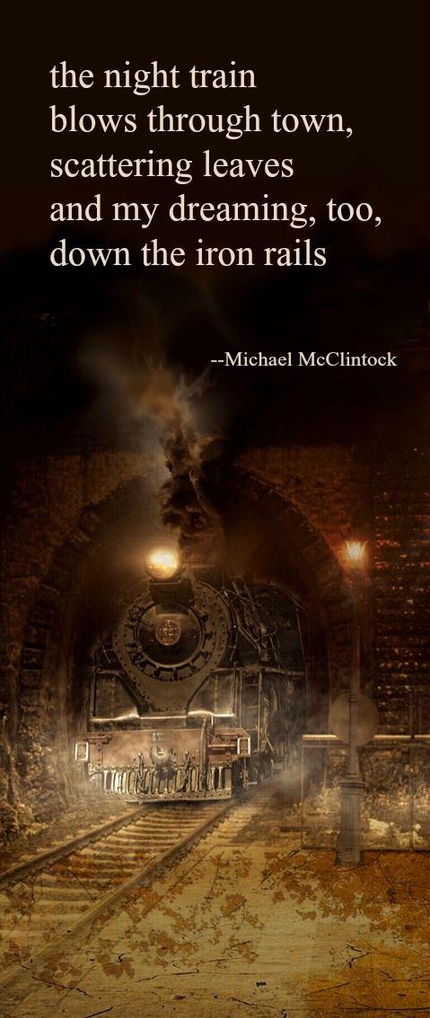 Tanka poem: the night train -- by Michael McClintock.