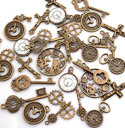 チャームセット 【 鍵 & 時計 星 など 80個アソート】 福袋 レジンなどに 素材 材料 金具 まとめ売り