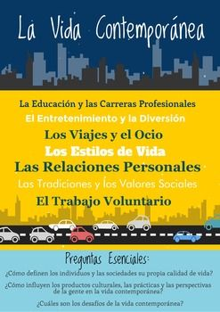 This poster presents the Contemporary Life (La Vida Contempornea) theme for the AP Spanish and Language course. It outlines the subthemes and essential questions for this topic. The AP Spanish Language and Culture themes were developed by AP College Board.You are paying for ONE printable poster as shown in the thumbnail.