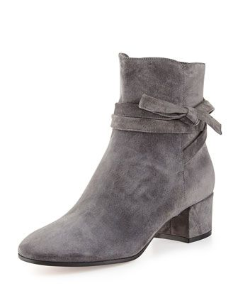 Gianvito Rossi Suede Ankle-Tie Boot, Dark Gray Suede+Ankle-Tie+Boot,+Dark +Gray+by+Gianvito+Rossi+at+Neiman+Marcus.