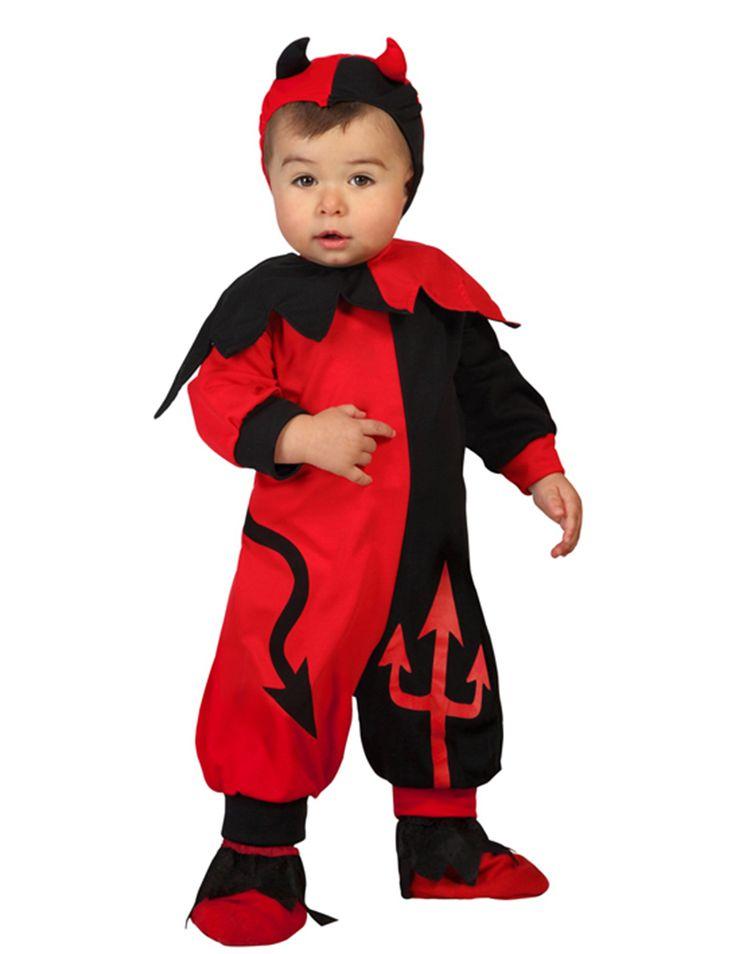 Disfraz de diablo bebé niño: Este disfraz de diablo incluye traje, capucha y cuello (zapatos no incluidos).El traje se sujeta con velcros y es rojo y negro.El cuello se fija con velcro en el cuello y tiene corte d epicos.La...