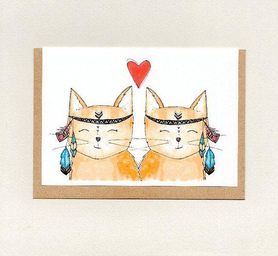 Boho Love Cats Greeting Card Cute Cats Wedding Engagement Valentines Anniversary Love Note Girlfriend Boyfriend Friendship Australia Cat Birthday Card Cat Cards Cards
