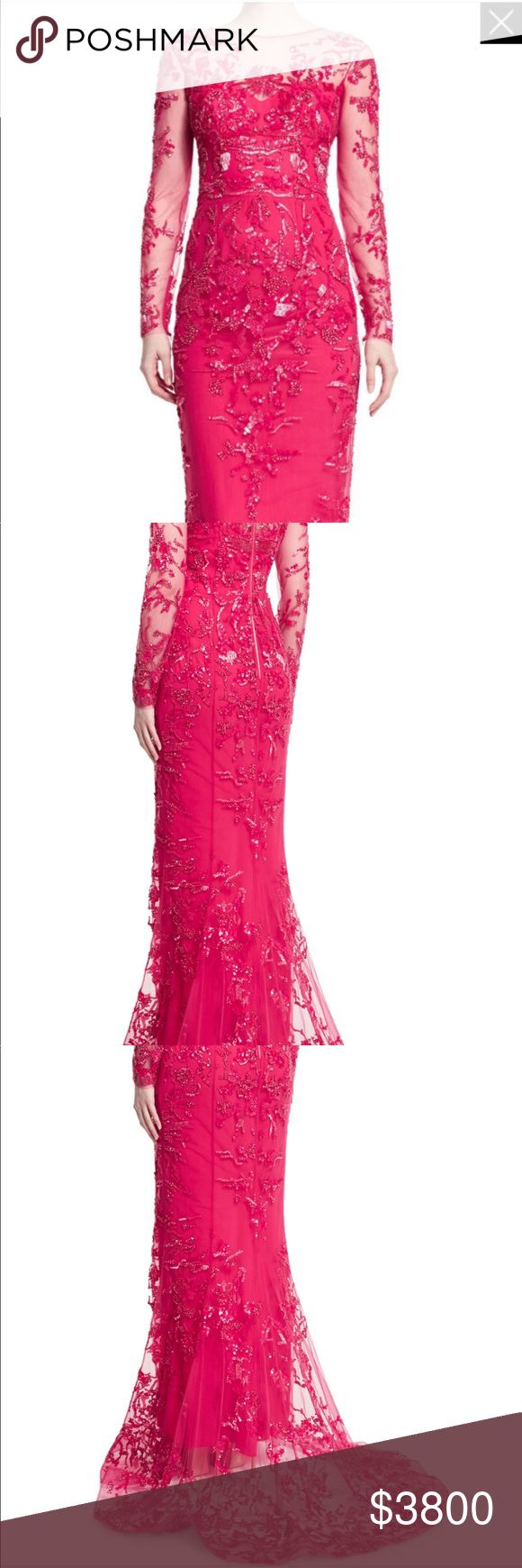 Zuhair Murad floral beaded tulle gown Floral beaded Rose color evening gown with Tulle underlay. Long sleeves with a Mini train that has concealed buttons and ribbons in the back for bustling if needed. Worn once like new. Original price is $13215.00 Zuhair Murad Dresses Maxi