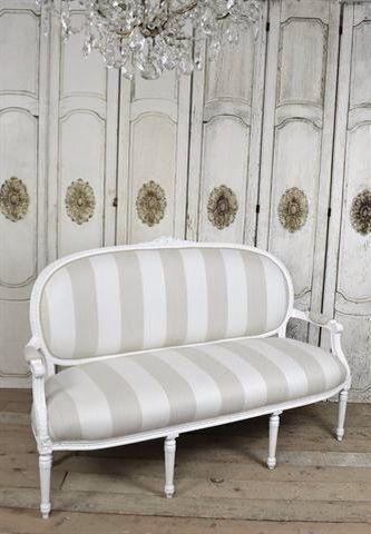 louis xvi settee in cabana stripe linen sale by
