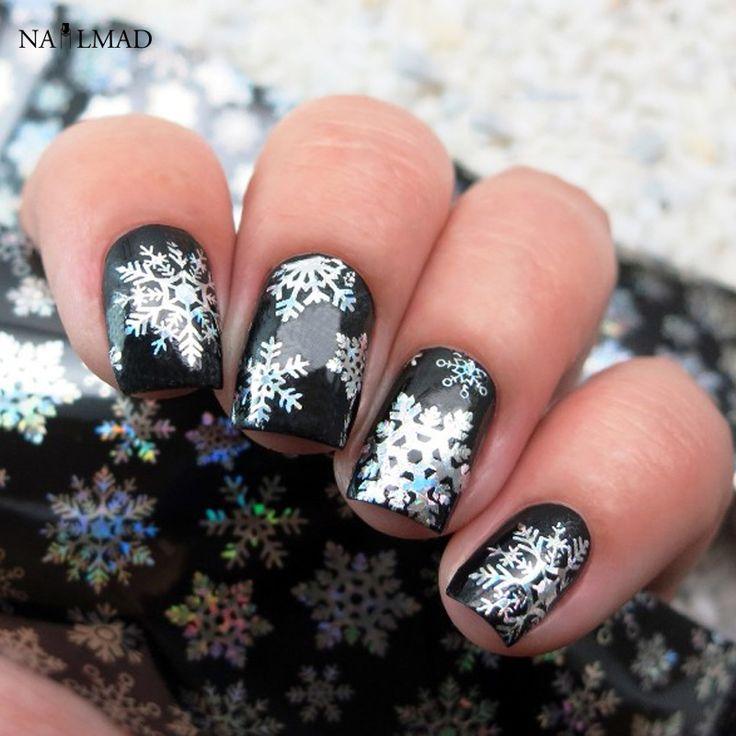 1 roll 4*100CM Holographic Snowflake Nail Foils White Snow Christmas Design Nail Art Transfer Foil Transfer Sticker Paper
