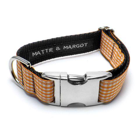 Mattie & Margot Tangerine Gingham Dog Collar From $31.95