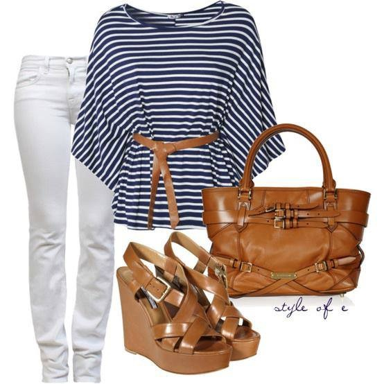White pants, blue and white shirt, brown leather bag and high heel sandals for ladies