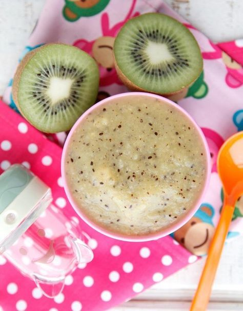 Kiwi Peach Puree!  Kiwis have more vitamin C than any other fruit. To help increase the absorption of iron, which is important for brain development, feed your baby a vitamin C food, such as kiwis, at the same time you feed them egg yolks or cereals, which are high in iron.