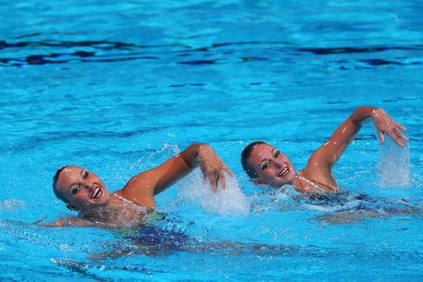 Stephanie Leclair and Emilia Kopcik of Canada compete in the Synchronized Swimming Duet preliminary round on day four of the 15th FINA World Championships at Palau Sant Jordi on July 23, 2013 in Barcelona, Spain.