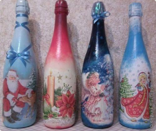 Дизайн бутылок своими руками декупаж с фото