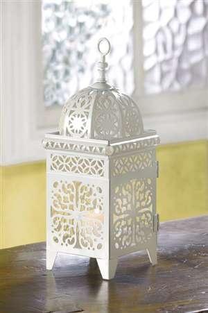 Wholesale White Scrollwork Candle Lantern - $6.04