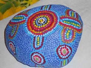 dotted hand painted stone