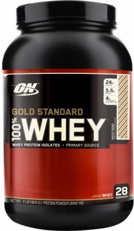 Optimum Nutrition Gold Standard 100% Whey Rocky Road 2 Lbs. OPT194 Rocky Road - 24g of Whey Protein with Amino Acids for Muscle Recovery and Growth*