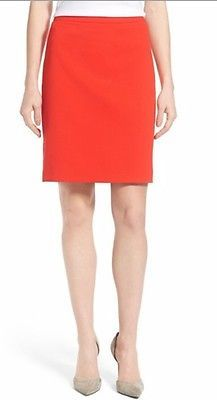 Alex Marie Pencil Lined Skirt Lipstick Red Textured Career Wear To Work Slit 10