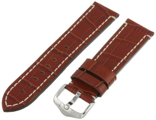 Hirsch 109028-70-24 24 -mm  Genuine Calfskin Alligator Embossed Watch Strap >>> More info could be found at the image url.