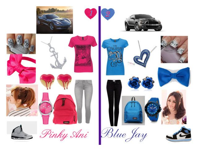 Pinky & Blue by blu-jones on Polyvore featuring polyvore fashion style Silvian Heach J Brand Paige Denim Me & Zena Folli Follie Nautica Johnny Loves Rosie American Apparel Eastpak NIKE Clair Beauty clothing
