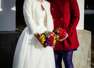 Bright colour bouquets for a Warm Winter Wedding In Elgin by Green Goddess flower studio