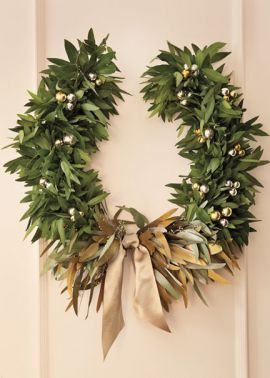 Martha Stewart Living December 2013 Laurel Wreath Garland Gold Silver