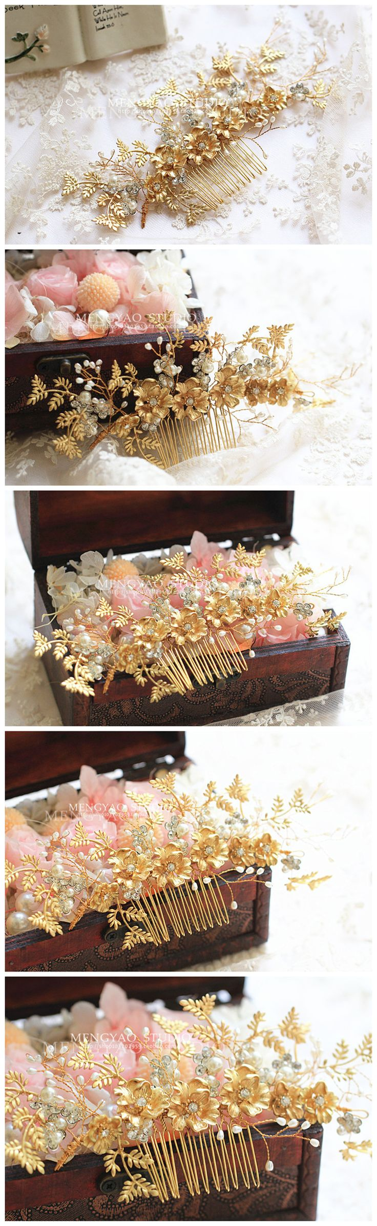 Ватикан Си Дия высокого класса ручной бисером золотые Европейский стиль минимализма мелкие золотые Люкс Тиара гребень аксессуары для волос - Taobao