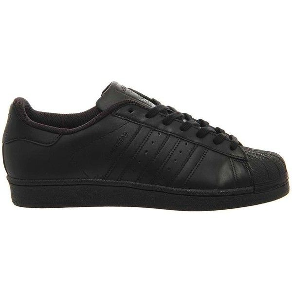 Superstar 1 Trainers by Adidas Supplied by Office ($97) ❤ liked on Polyvore featuring shoes, sneakers, black, black sneakers, black leather trainers, topshop sneakers, black leather sneakers and striped sneakers