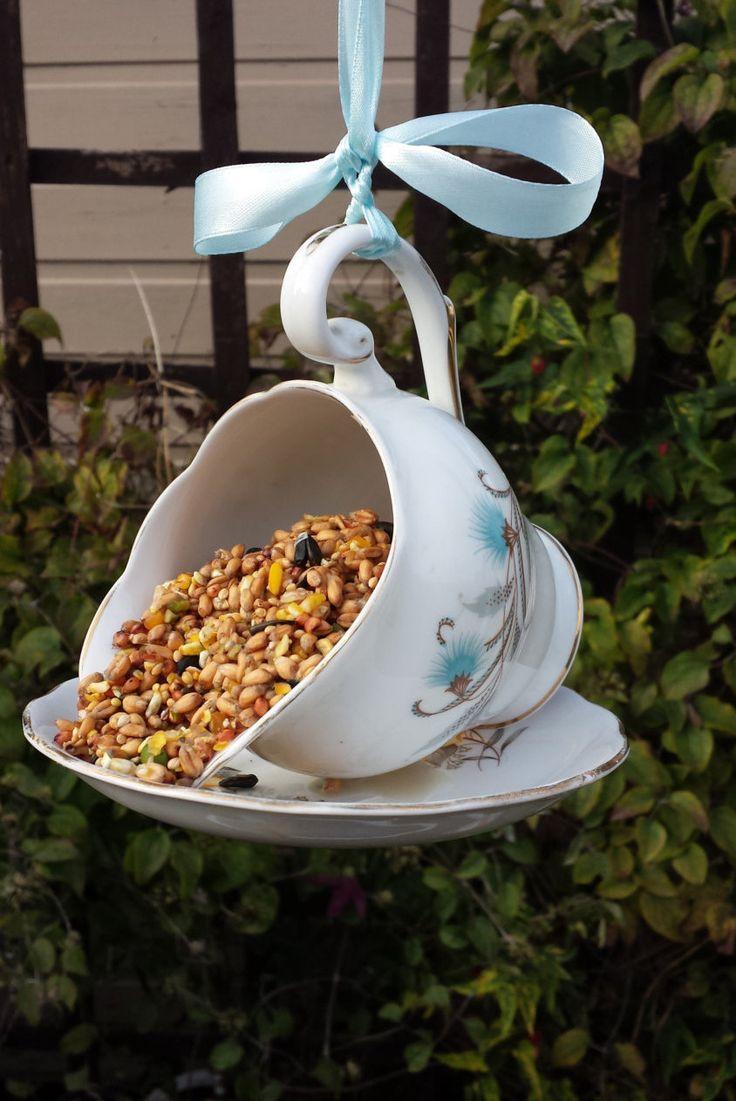 Vintage china bird feeder, jug bird feeder, bird lovers gift, garden ornament, quirky gardener's gift, garden decoration, wild life feeder. - pinned by pin4etsy.com