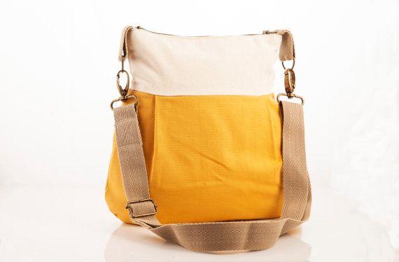 Yellow bag Fabric purse Crossbody bag Hip by PurpleFlowerPurses