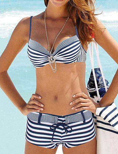 2300020fd   19.99  Women s Geometric Halter Neck Green Red Navy Blue Bikini Swimwear  - Striped L XL XXL   Sexy in 2019