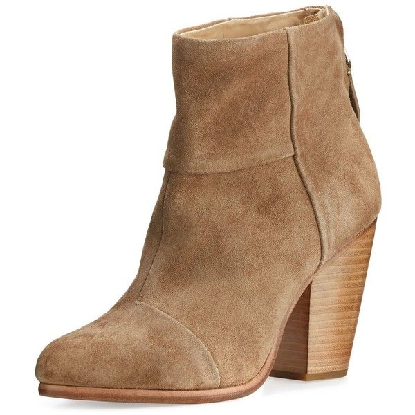 Rag & Bone Classic Newbury Suede Ankle Boot ($495) ❤ liked on Polyvore featuring shoes, boots, ankle booties, camel suede, block heel booties, camel ankle boots, round toe boots, suede ankle bootie and short boots
