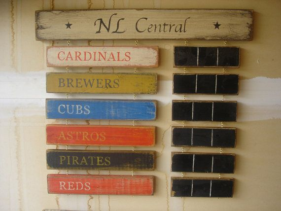 A unique, handcrafted, rustic National League Central Division standings board. $89