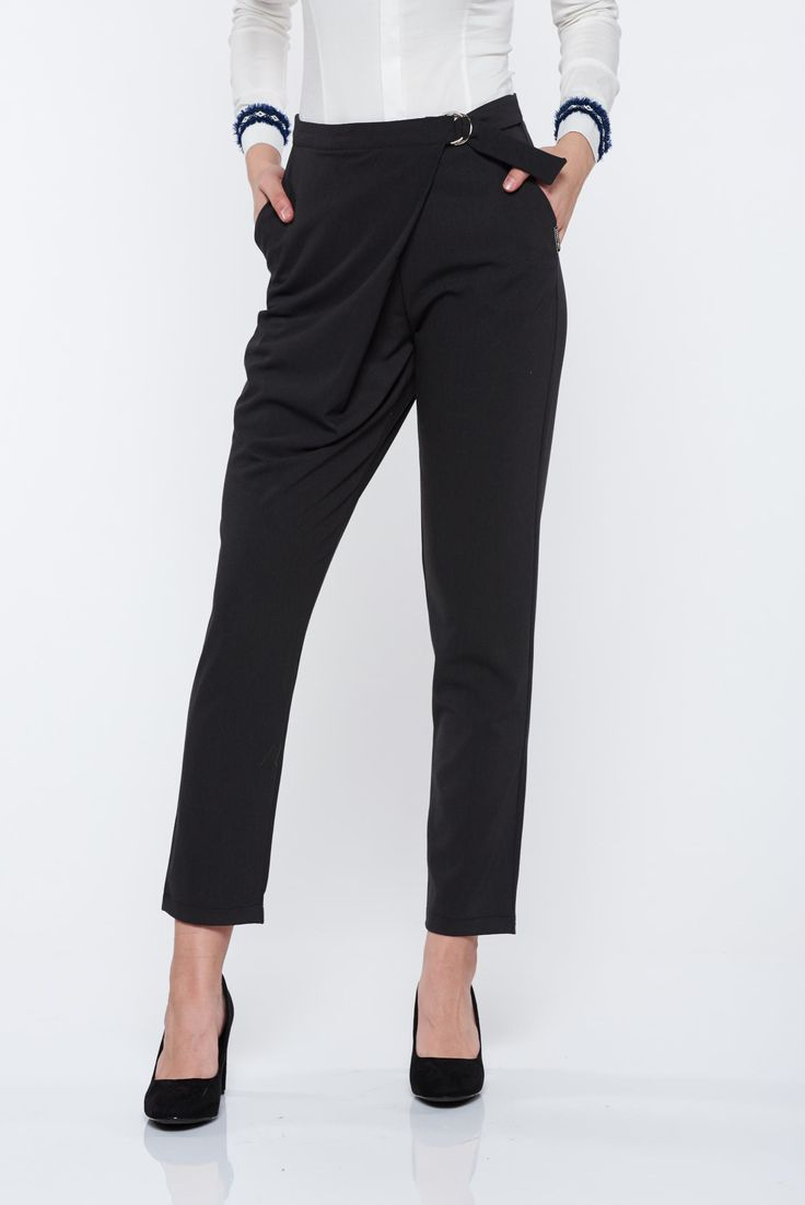 PrettyGirl darkgrey office trousers with front pockets, women`s trousers, front pockets, metallic buckle, button and zipper fastening, non-flexible thin fabric