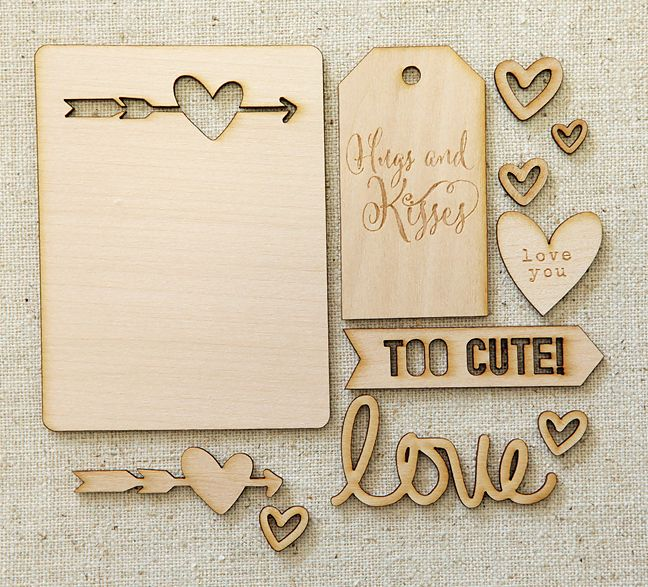 Elle's Studio February Hugs and Kisses Wood Veneers | shopellesstudio.com