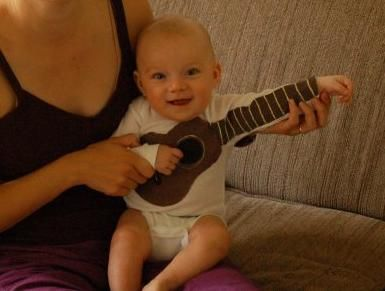 Baby guitar shirt! @Tara Harmon Horgan Michael would be a rock star!!
