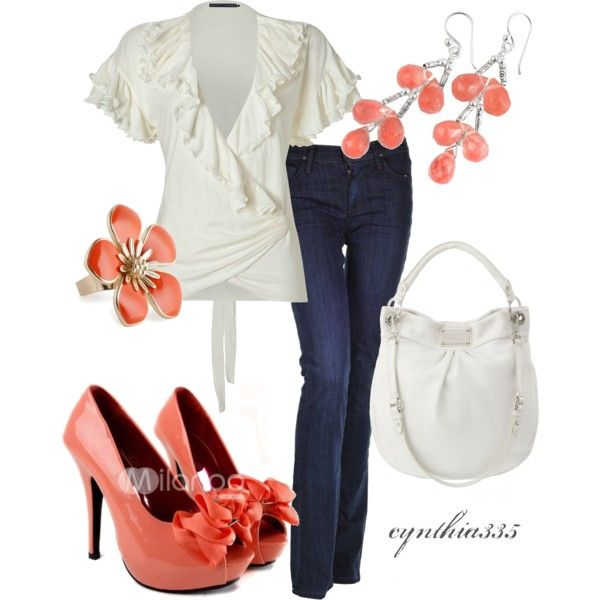 Spring Blossoms, created by cynthia335: Shoes, Fashion, Casual Outfit, Style, Color, Cute Outfit, Peaches, Spring Outfit, Spring Blossoms