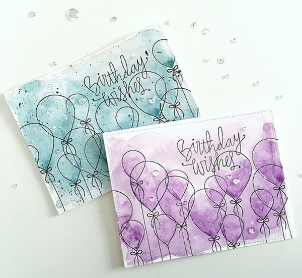 We love the colors Kimberly chose to watercolor these cards!