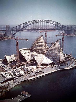 Sydney Opera House under construction, 1966