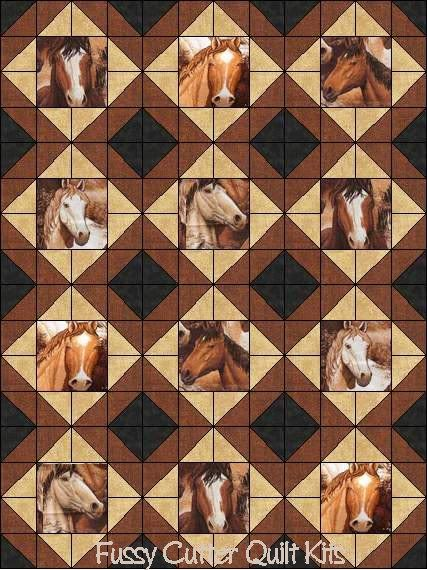 Southwestern Western Wild Horses Stallions Colts Fabric Easy Pre-Cut Quilt Blocks Top Kit