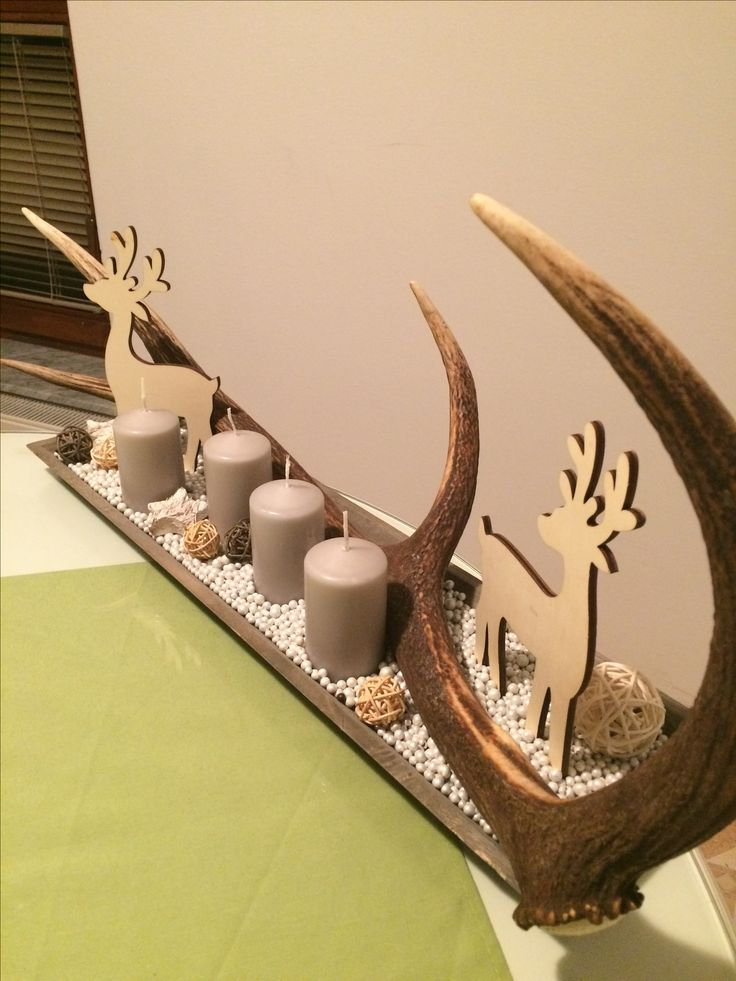 Preparation for Christmas. (: #unique #deerhorn #adventwreath #homemade #hunter #inthehouse