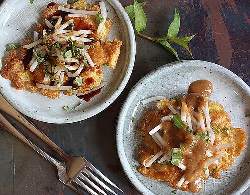 Tahu telor, Indonesia fried tofu and egg pancake, from Andrea Nguyen's food blog