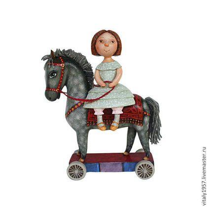 Коллекционные куклы ручной работы. Ярмарка Мастеров - ручная работа. Купить Девочка и  лошадь .  Скульптура. Дерево . Ручная роспись. Handmade.