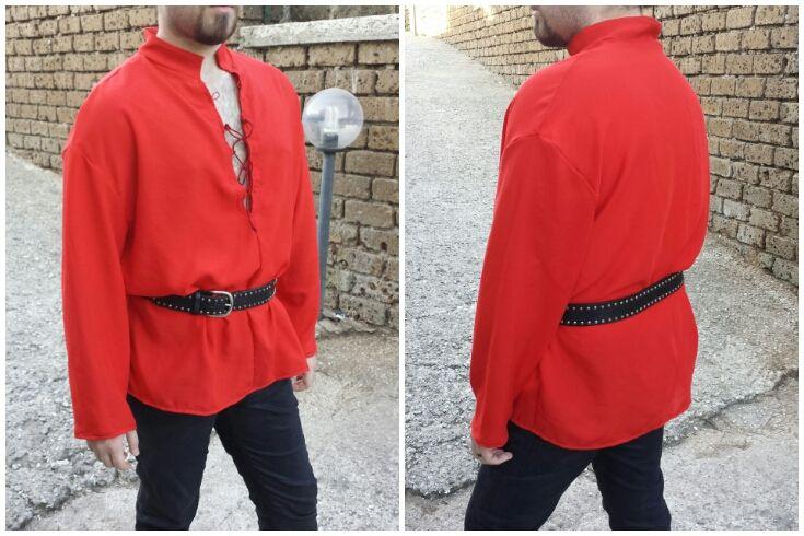 Camicia da uomo in cotone misto lino, in stile medievale.